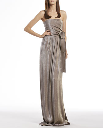 Metallic Gray Side Draped Gown