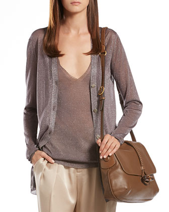 Metallic Gray Cardigan, Tank Top & Silk Relaxed Fit Pants