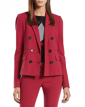 Cherry Stretch Cotton Double-Breasted Jacket