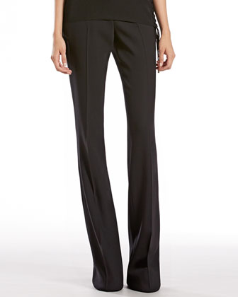 Black Stretch Wool Skinny Flare Pants