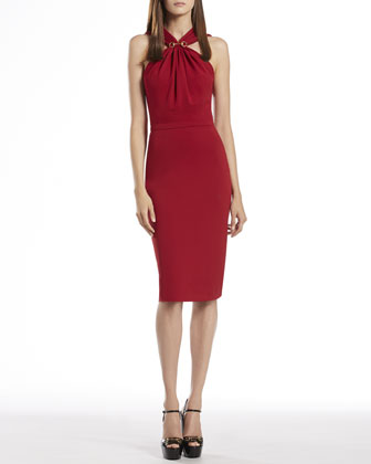 Raspberry Halter Dress