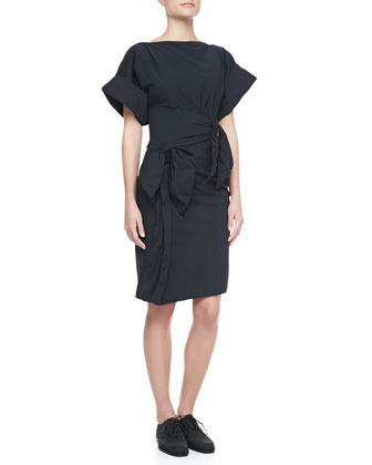 Gathered-Waist Dress, Dark Navy