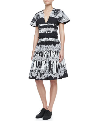 Pleated Lace & Paint-Print Dress, Black/White