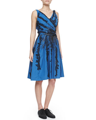Faux-Wrap Dress with Lace Trim, Blue