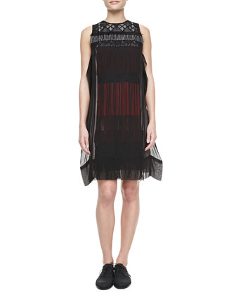 Embroidered Fringe Dress, Black/Multi