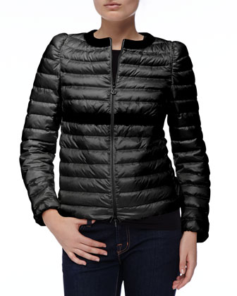 Solid-Trim Zip Puffer Jacket, Black
