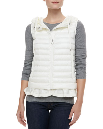 Hooded Peplum Puffer Vest, White
