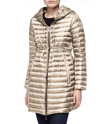 Long Puffer Drawstring Coat, Stone