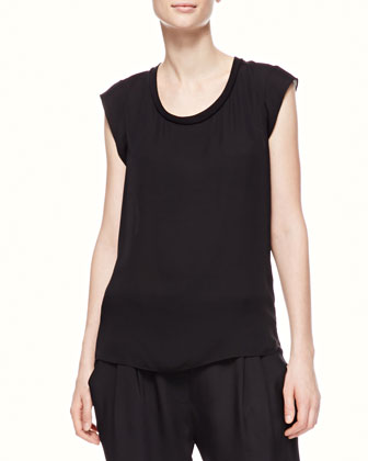 Sleeveless Muscle Tee, Black