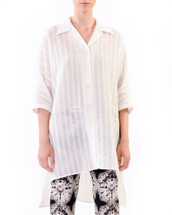 Oversized Devore Tunic & Printed Twill Ankle Pants