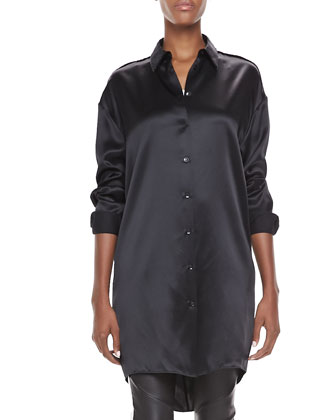 Long-Sleeve Collared Satin Tunic & Skinny Leather Scuba Pants