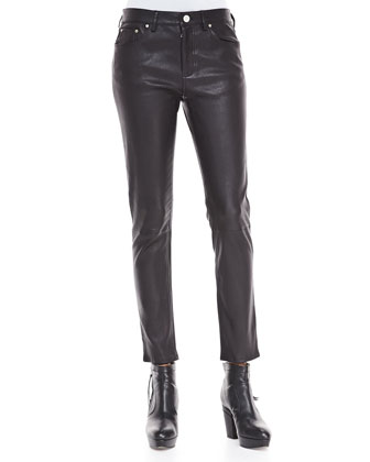 Skinny Leather Pants, Black