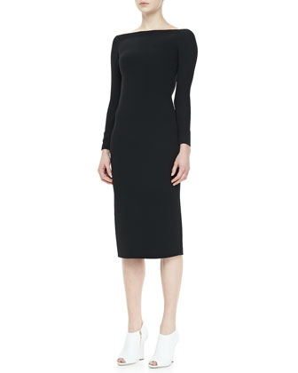 Long-Sleeve Cutout-Back Dress, Black