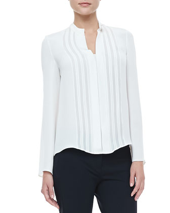 Georgette-Panel Silk Blouse, Ivory