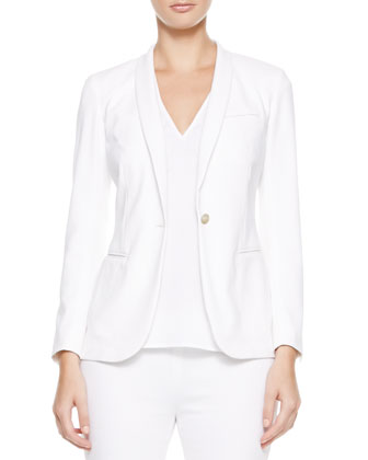 One-Button Shawl-Collar Jacket, White
