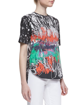 Abstract-Print Poplin Top