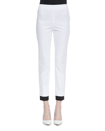 Contrast-Cuff Satin Ankle Pants