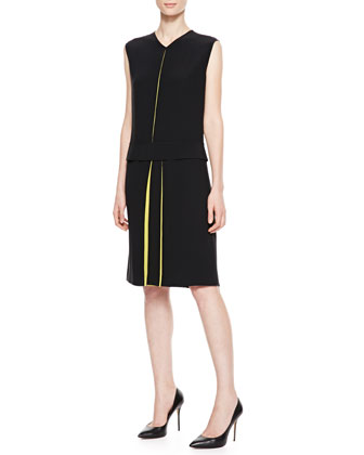 Asymmetric-Pleat Dress, Black