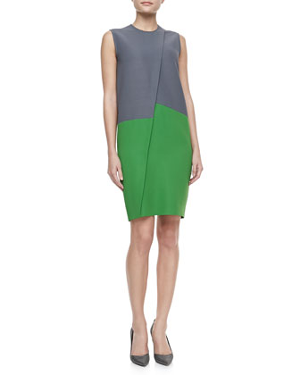 Asymmetric Colorblock Dress, Gray/Green
