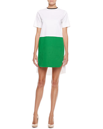 Colorblock Hi-Low Dress, White/Green