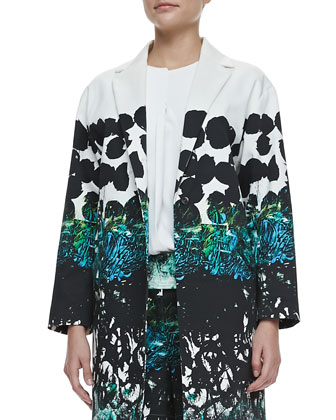 Printed Slit-Pocket Coat, White/Black/Green