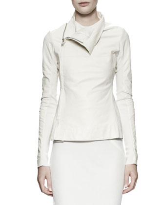 Zipped Leather/Knit Turtleneck Jacket, Milk White