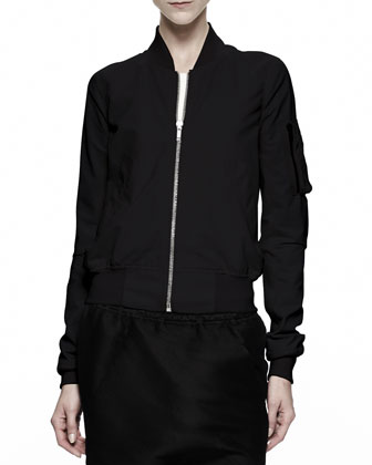 Cropped Flight Bomber Jacket, Black