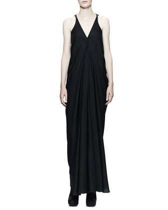 Aurora Plunging-V Gown Dress, Black