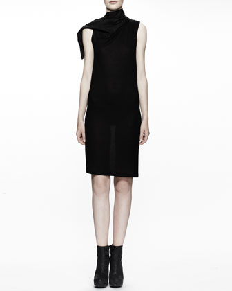 Calla Leather-Collared Tunic Dress, Black