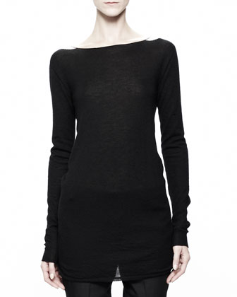 Boat-Neck Knit Top, Black