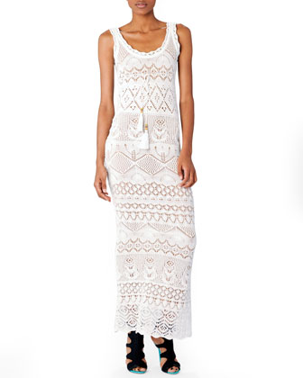 Empire-Waist Crochet Maxi Dress