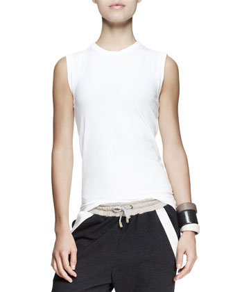 Colorblock Cashmere Pullover, Sleeveless Top & Pleated Striped Shorts