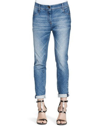Bias-Cut Denim Jeans