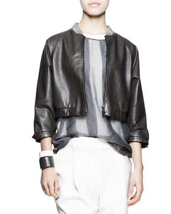 Cropped Leather Jacket, Sheer Striped Top, Tapered Pleated Pants & Leather Cuffs