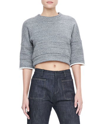 Cropped Sweatshirt Pullover & High-Waist Wide-Leg Jeans