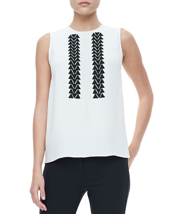 Sleeveless Embroidered Blouse & Classic Leggings