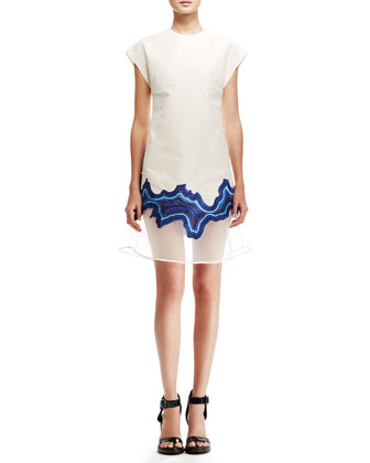 Cap-Sleeve Embroidered Geode Dress