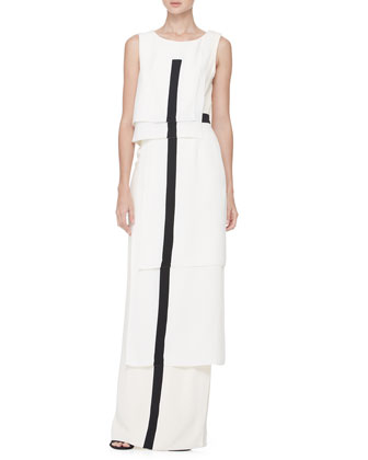 Tiered Center-Stripe Gown