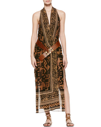 Single Grommet Belted Printed Wrap Dress