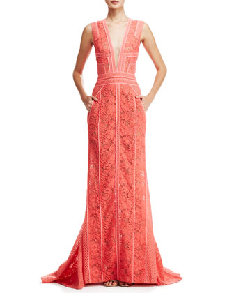 V-Neck Lace Gown with Pockets