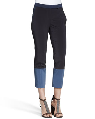 Cropped Colorblock Silk Pants