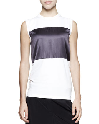 Sleeveless Satin-Stripe Top