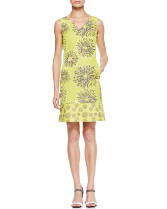 Printed V-Neck Sheath Dress, Chartreuse