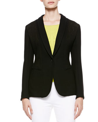 Shawl-Lapel One-Button Jacket, Black