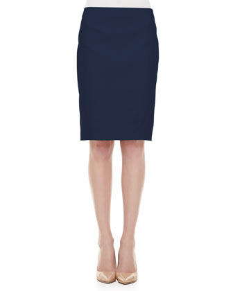 Sateen Back-Slit Pencil Skirt, Navy