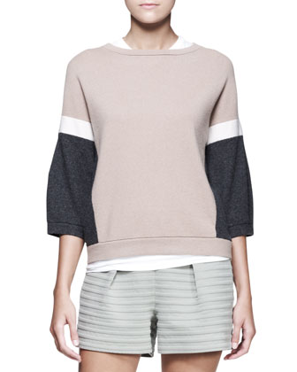 3/4-Sleeve Colorblock Pullover