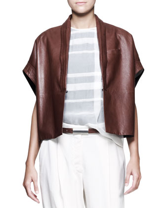 Kimono-Sleeve Jacket, Half-Placket Shirt, Slim Ankle Pants, Leather Belt & Cuff