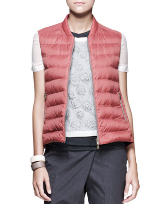 Shirt-Back Puffer Vest, Monili-Circle Top, Asymmetric-Wrap Pants & Leather Cuffs