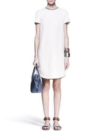 Monili-Collar Shift Dress, Knot Fedora & Leather Cuffs