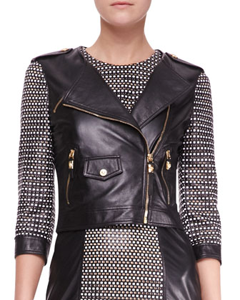 Woven 3/4-Sleeve Leather Moto Jacket
